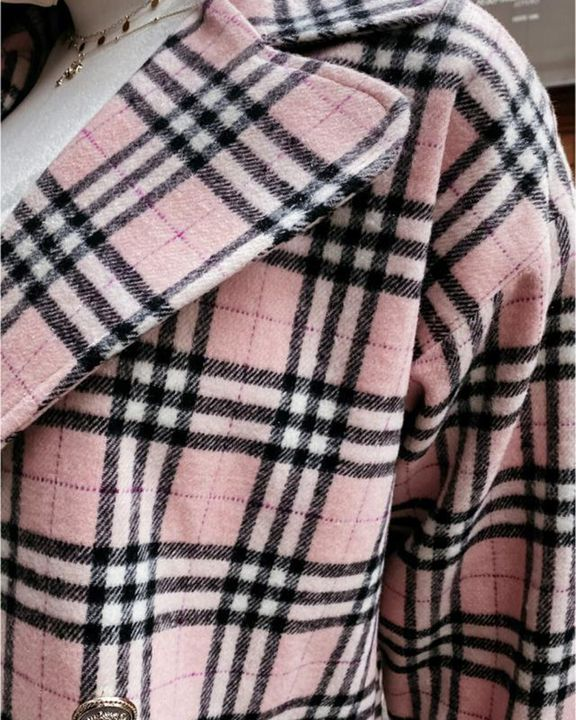 Plaid Print Double Breasted Lapel Neck Coat gallery 4