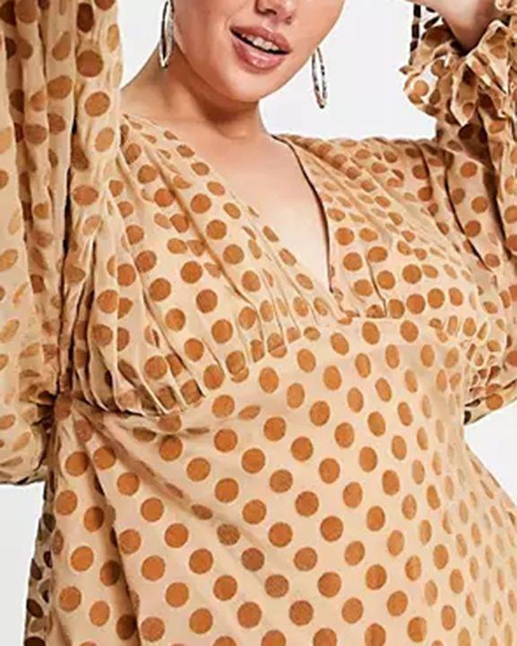 Polka Dot Print Ruffle Cuff Zip Back Mini Dress gallery 4