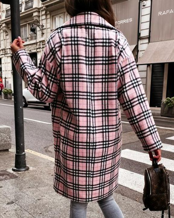 Plaid Print Double Breasted Lapel Neck Coat gallery 3