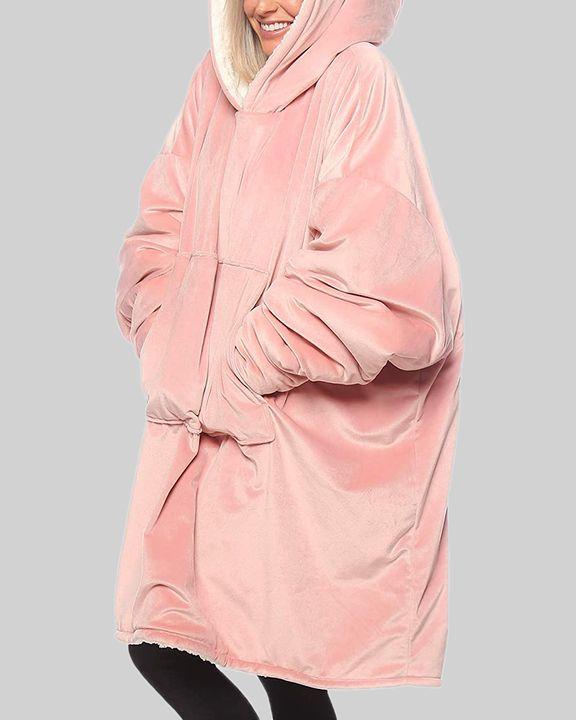 Maple Leaf Print Kangaroo Pocket Thermal Wearable Blanket Coat gallery 24