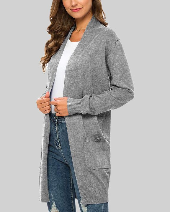 Solid Dual Pocket Open Front Cardigan gallery 5