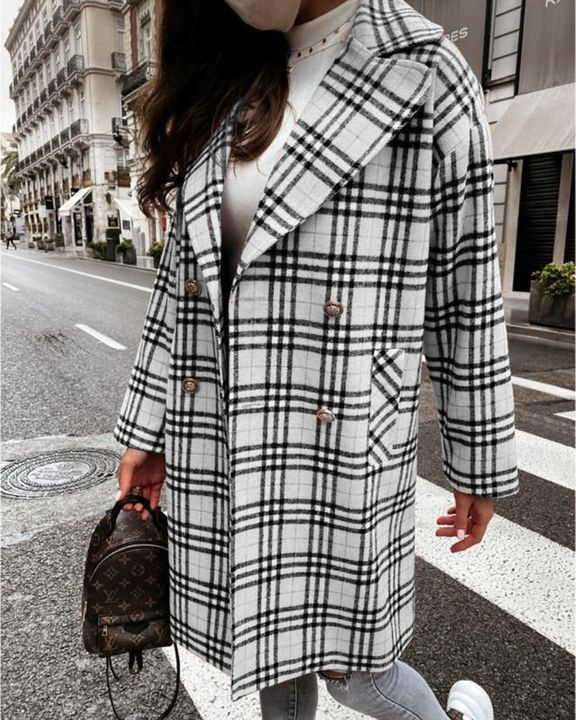 Plaid Print Double Breasted Lapel Neck Coat gallery 5