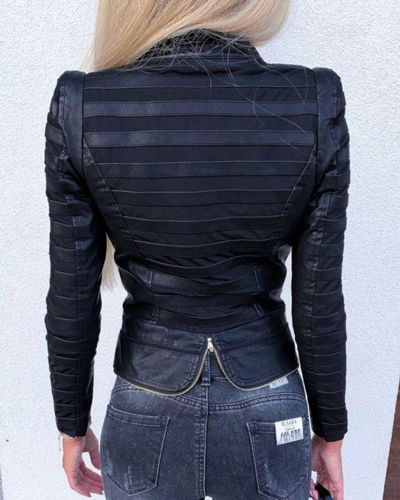 PU Leather Frill Trim Zip Up Button Detail Split Hem Jacket gallery 2