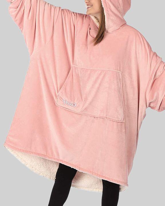 Maple Leaf Print Kangaroo Pocket Thermal Wearable Blanket Coat gallery 7