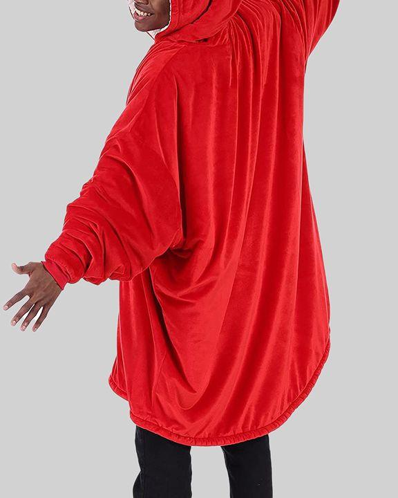 Maple Leaf Print Kangaroo Pocket Thermal Wearable Blanket Coat gallery 36