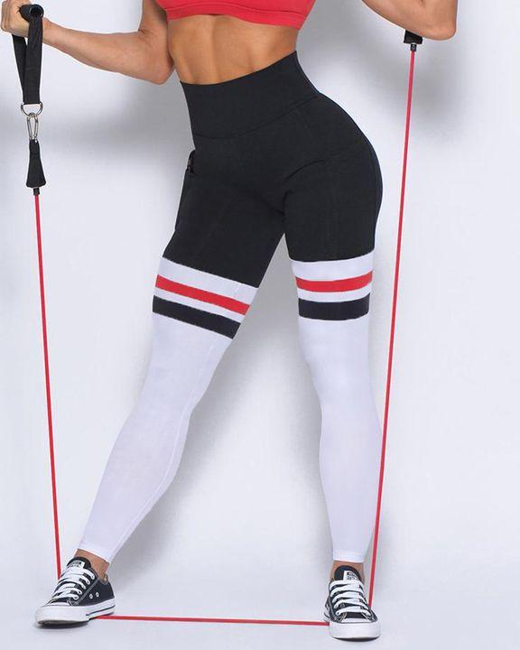 Colorblock Stripe Pocket Side Sports Leggings gallery 9