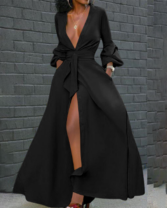 Solid Button Up Self-Tie Puff Sleeve Maxi Shirt Dress gallery 4