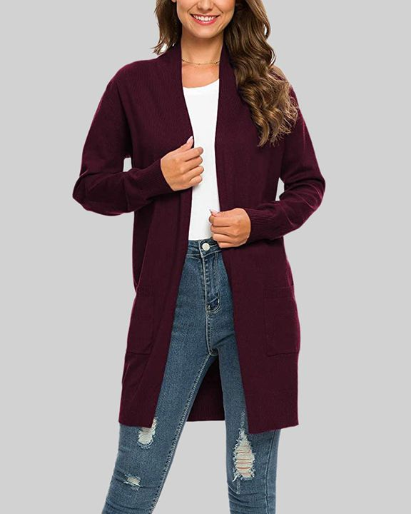 Solid Dual Pocket Open Front Cardigan gallery 20