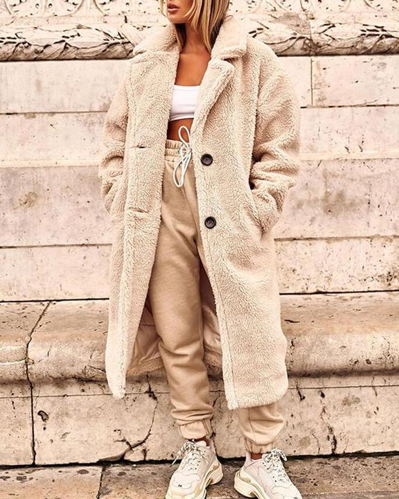 Solid Button Front Lapel Neck Teddy Coat gallery 1