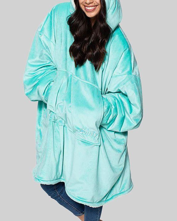 Maple Leaf Print Kangaroo Pocket Thermal Wearable Blanket Coat gallery 6