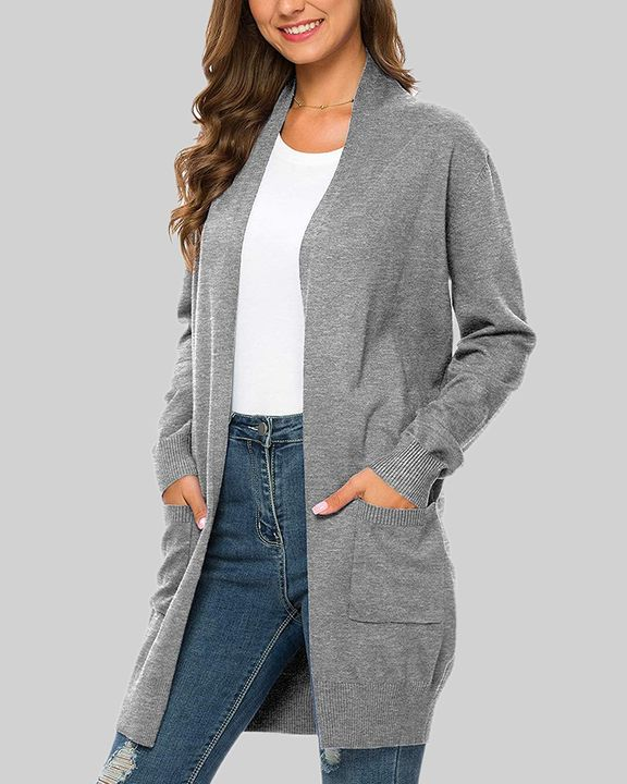 Solid Dual Pocket Open Front Cardigan gallery 2