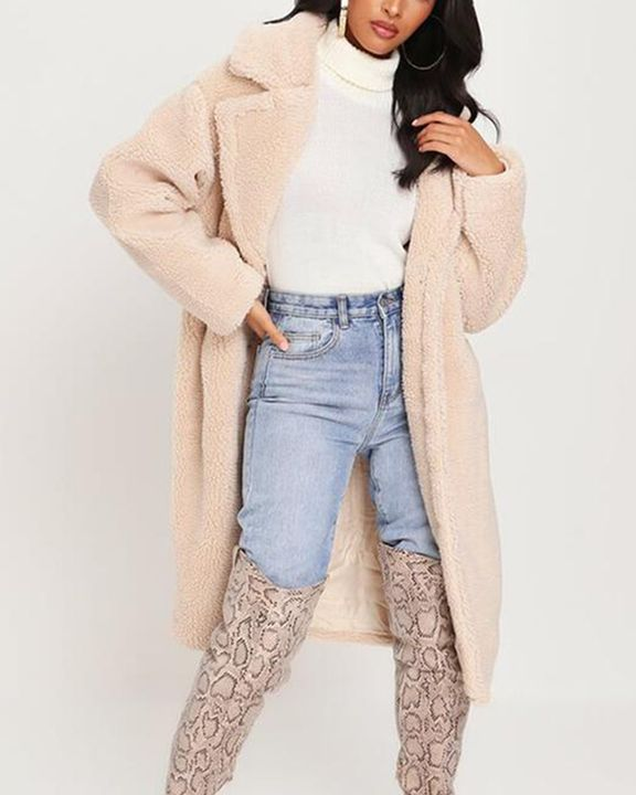 Solid Button Front Lapel Neck Teddy Coat gallery 3