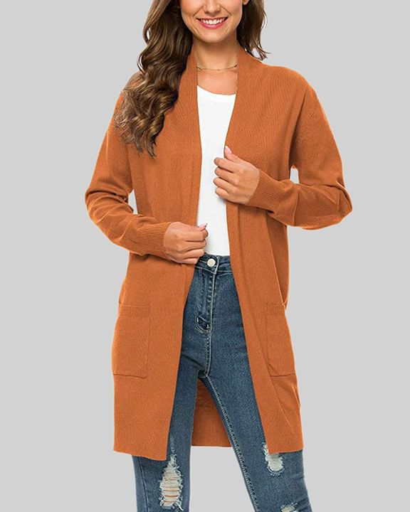 Solid Dual Pocket Open Front Cardigan gallery 10