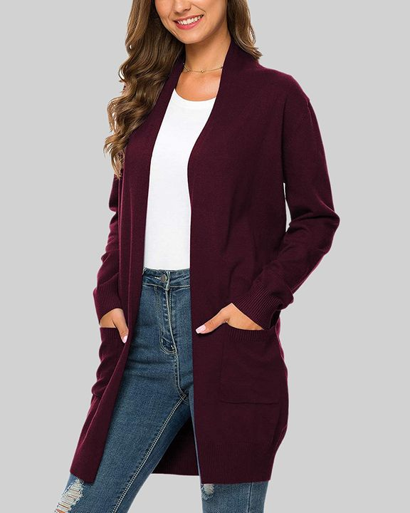 Solid Dual Pocket Open Front Cardigan gallery 18