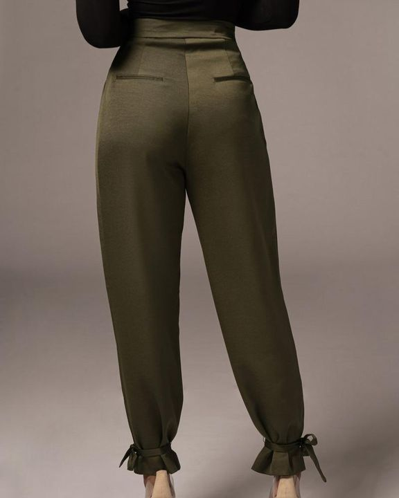 Solid Ankle Tie Pleated High Waist Pants gallery 9