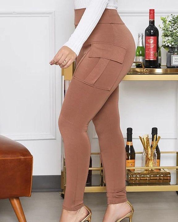 Solid Flap Pocket High Waist Skinny Pants  gallery 3