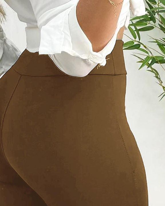 High Waist PU Leather Patch Skinny Pants gallery 7