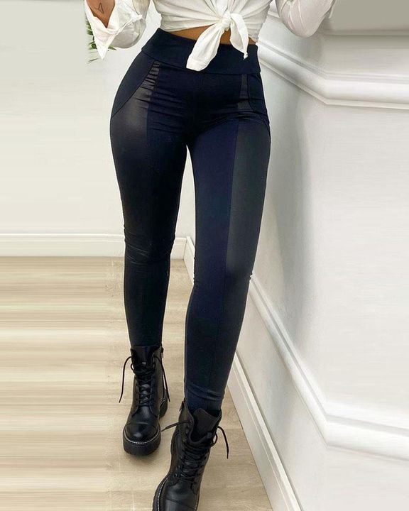 High Waist PU Leather Patch Skinny Pants gallery 3