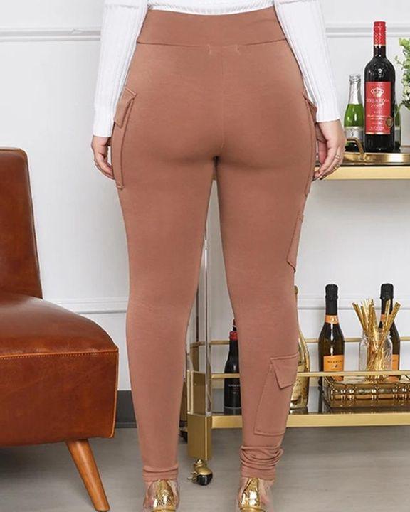 Solid Flap Pocket High Waist Skinny Pants  gallery 4