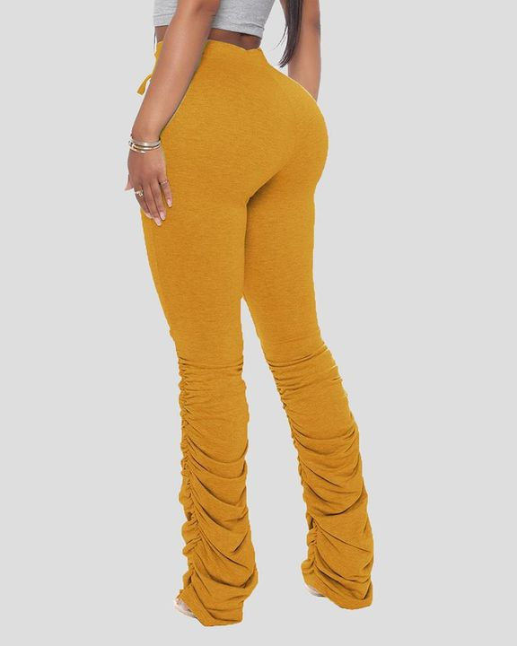 Solid Drawstring Cutout Stacked Pants gallery 8