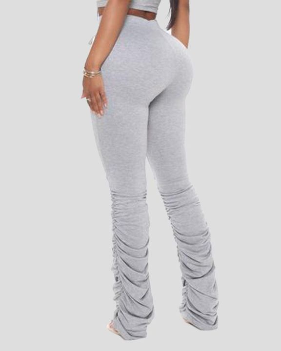 Solid Drawstring Cutout Stacked Pants gallery 4