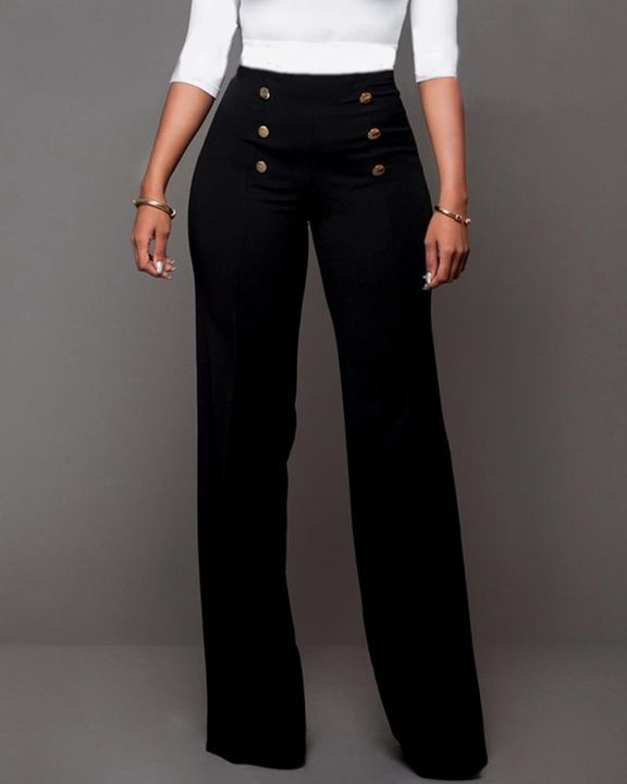 Solid Button Front Flare Pants gallery 2