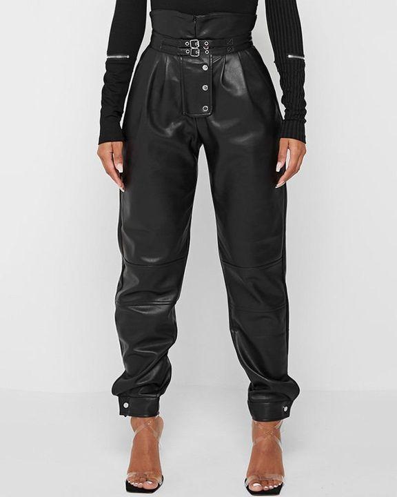High Waist Buckle Studded Button Tie PU Pants gallery 1