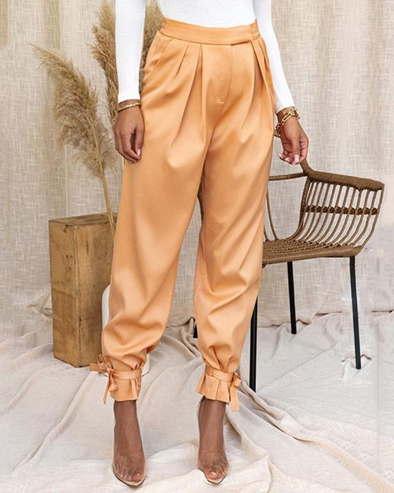Solid Ankle Tie Pleated High Waist Pants gallery 5