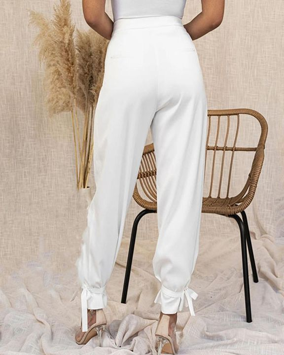 Solid Ankle Tie Pleated High Waist Pants gallery 17