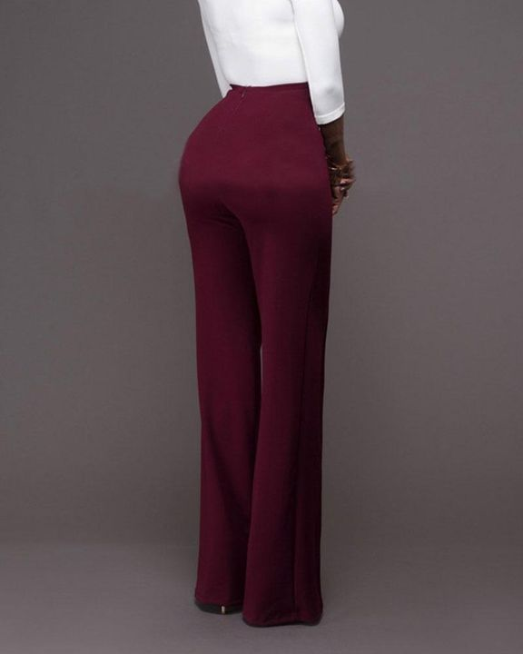 Solid Button Front Flare Pants gallery 6