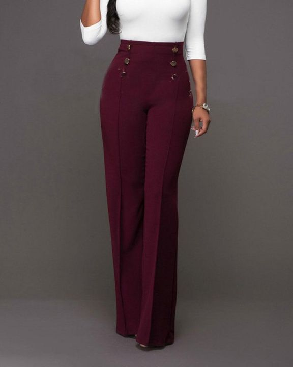 Solid Button Front Flare Pants gallery 3