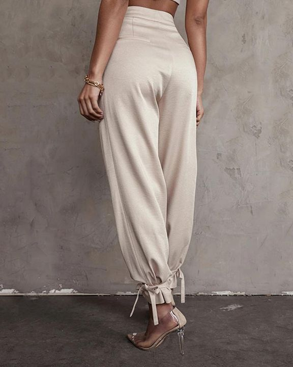 Solid Ankle Tie Pleated High Waist Pants gallery 7