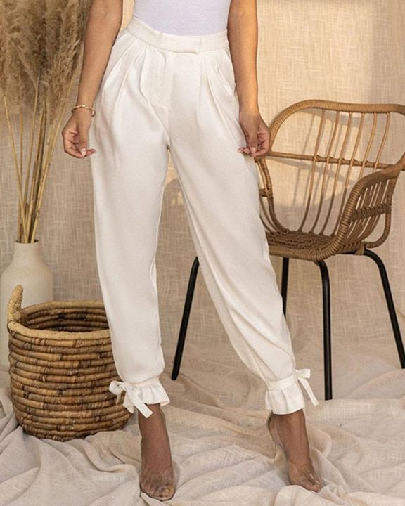 Solid Ankle Tie Pleated High Waist Pants gallery 6
