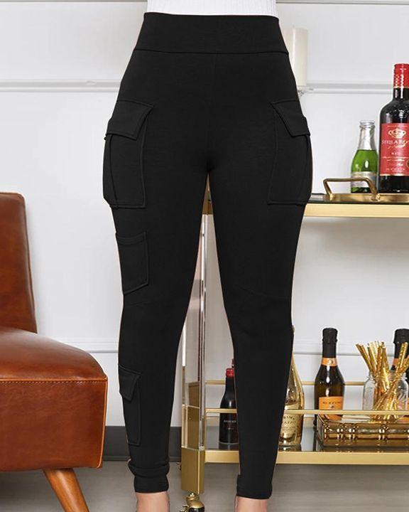 Solid Flap Pocket High Waist Skinny Pants  gallery 1
