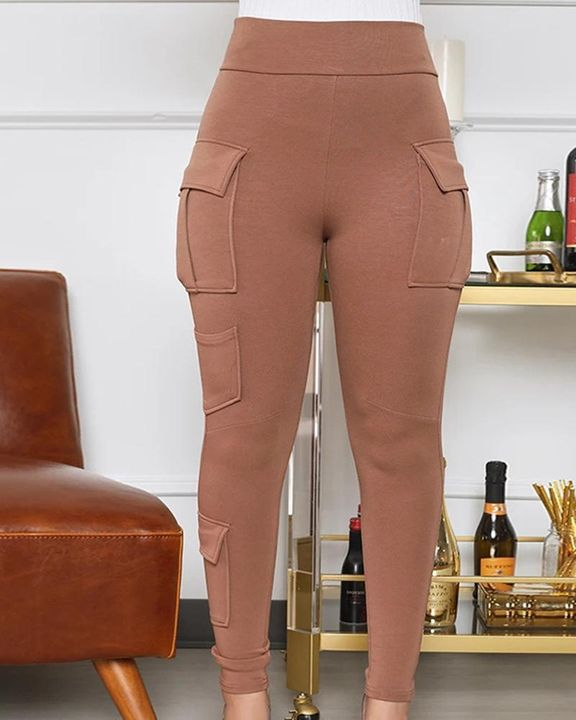 Solid Flap Pocket High Waist Skinny Pants  gallery 2