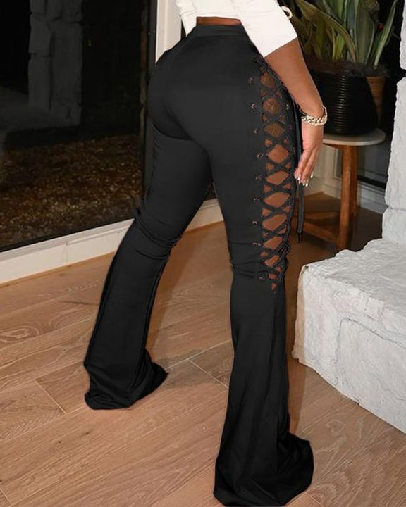 Lace Up Side Flare Leg Pants gallery 2