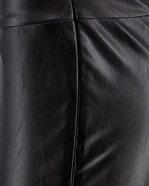 Solid Ruched Wide Waistband PU Pants gallery 6