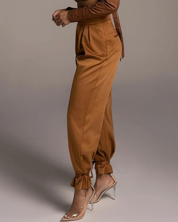Solid Ankle Tie Pleated High Waist Pants gallery 12