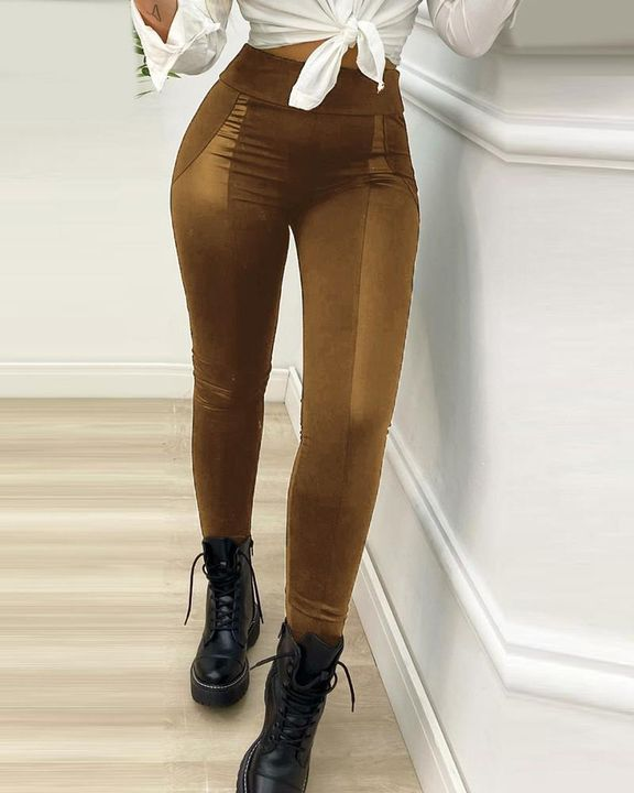 High Waist PU Leather Patch Skinny Pants gallery 6