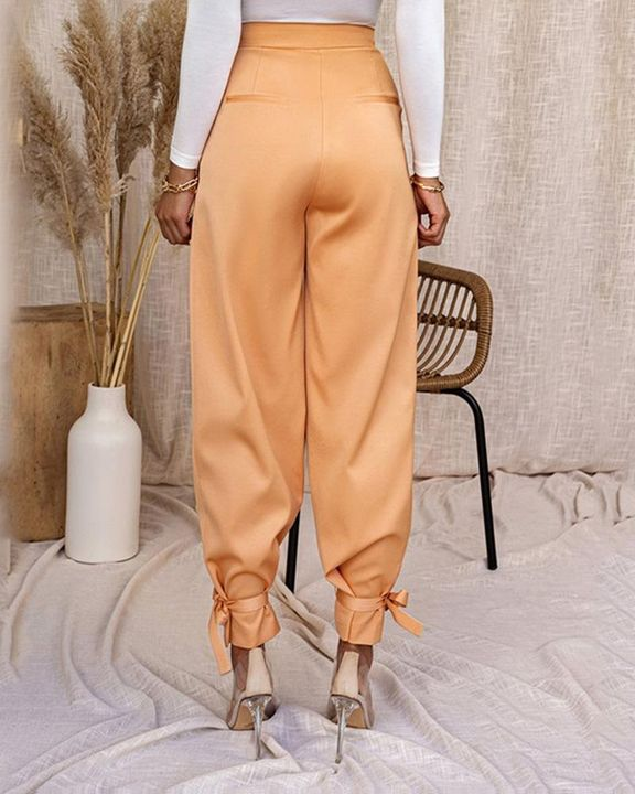 Solid Ankle Tie Pleated High Waist Pants gallery 15