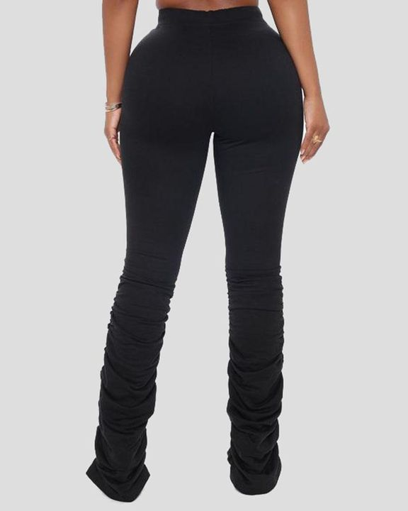Solid Drawstring Cutout Stacked Pants gallery 7