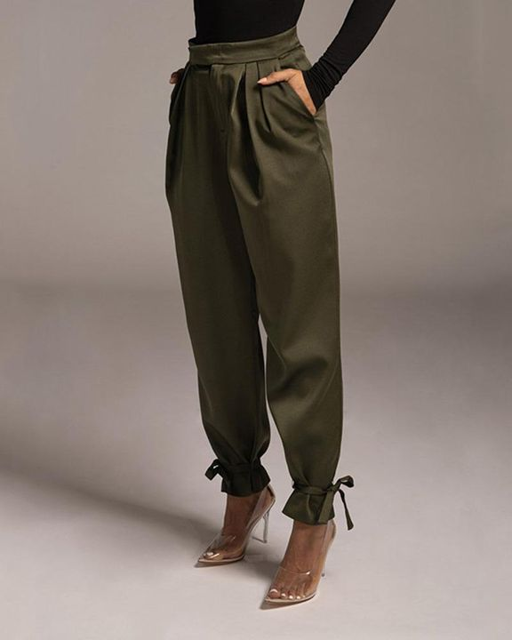 Solid Ankle Tie Pleated High Waist Pants gallery 4