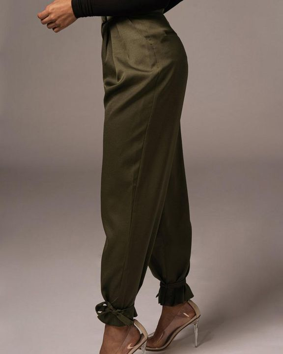 Solid Ankle Tie Pleated High Waist Pants gallery 8