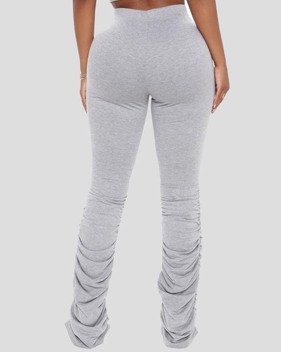 Solid Drawstring Cutout Stacked Pants gallery 5