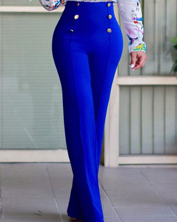Solid Button Front Flare Pants gallery 1