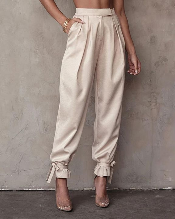 Solid Ankle Tie Pleated High Waist Pants gallery 2