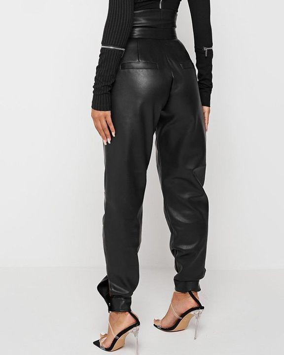 High Waist Buckle Studded Button Tie PU Pants gallery 4