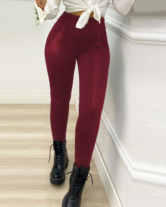 High Waist PU Leather Patch Skinny Pants gallery 4