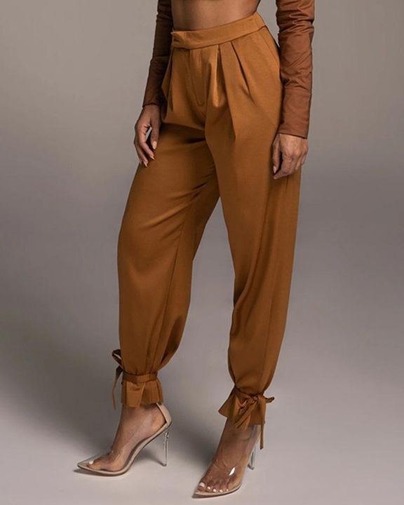 Solid Ankle Tie Pleated High Waist Pants gallery 1