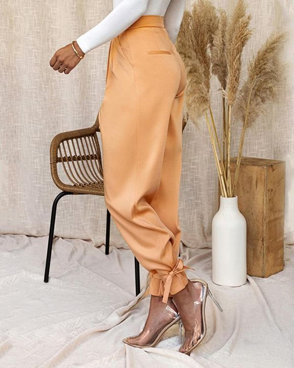 Solid Ankle Tie Pleated High Waist Pants gallery 14